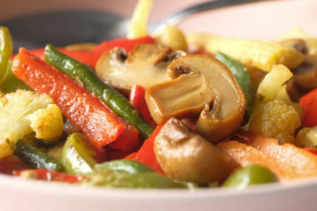 Close up of cooked fresh vegetable on plate