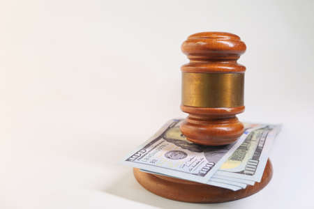 gavel and cash on white background with copy space Stock fotó