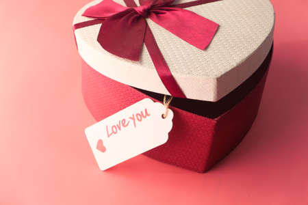heart shape gift box on pink background Stock fotó