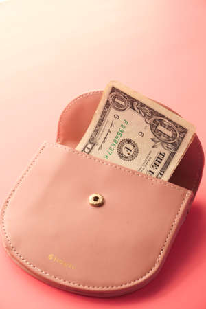 Us dollar cash in a small wallet on pink background