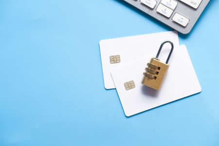 padlock on credit card, Internet data privacy information security concept 스톡 콘텐츠