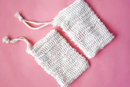 empty soap bag on white background ,