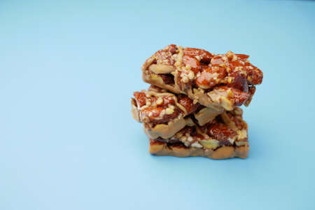 Almond and oat protein bars on table .