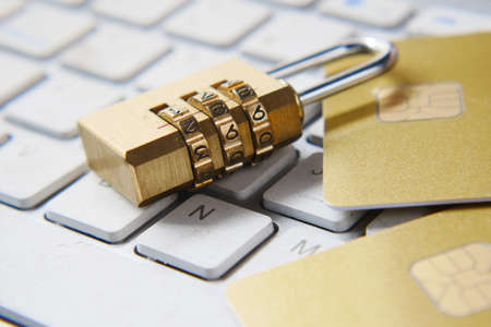 padlock and credit card, Internet data privacy information security concept