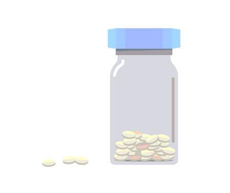 Illustration of a bottled tablet in flat design.