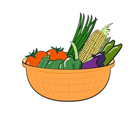 Illustration of summer vegetables in a basket. Vectores