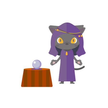 Illustration of a black cat with a fortune teller. Vector Illustration