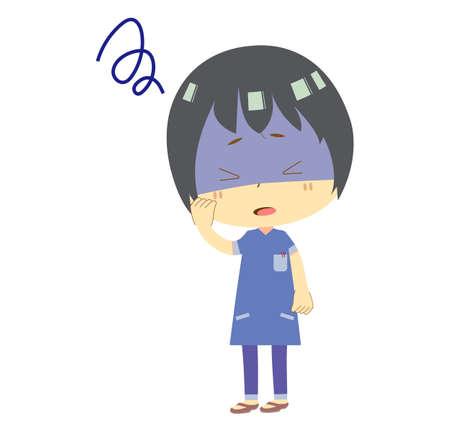 Illustration of a sick nurse man. Ilustração