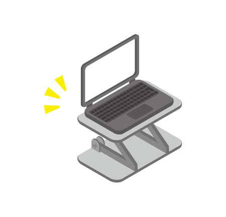 Illustration of a laptop on a stand.