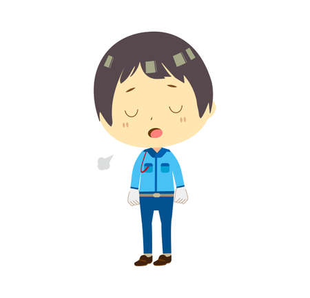 Illustration of a male security guard sighing.  イラスト・ベクター素材