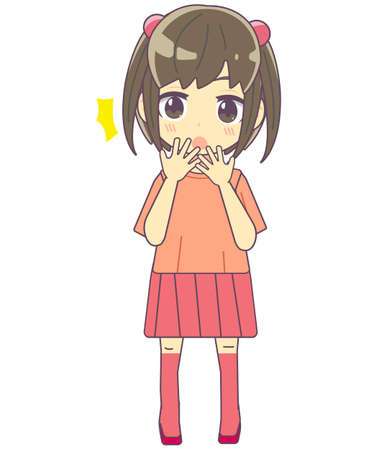 Illustration material of a girl with a surprised expression