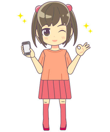 Illustration material of a girl holding a smartphone