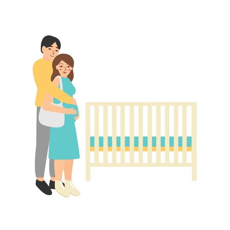 Young family choosing baby crib in kids store. Pregnant shopping flat vector illustration of man and pretty woman waiting for a birth child. Isolated white background