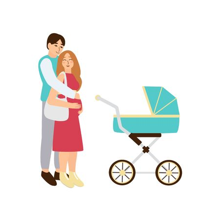 Happy pregnant woman with husband buying baby carriage. Stroller vector illustration. Couple of parents shopping pram in kids store. Pretty smiling mother