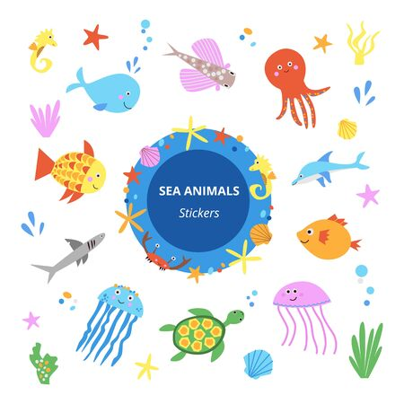 Cute sea animals stickers collection vector illustration. Kawaii set of sea life creatures as whale jellyfish octopus seahorse sea turtle shark dolphin and coral reef elements