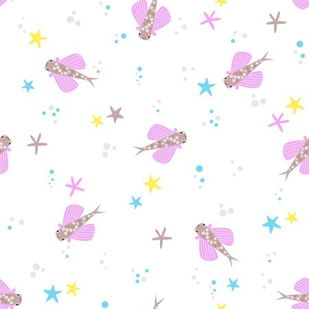 Cute sea seamless vector pattern with tropical fish. Kawaii marine animals in flat design on isolated white background flying fish starfish and bubbles for kids textile or wrapping paper Illustration