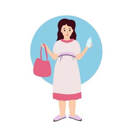 Pregnant woman character vector design illustration. Shopping and preparing for a child birth. Happy  expectation and maternity.