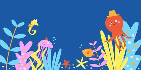 Cute sea animals vector illustration on navy blue background. Kawaii marine creatures swimming underwater on coral reef in seaweeds - octopus seahorse jellyfish and starfish. Colorful sea life banner in flat design 일러스트