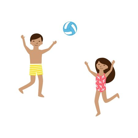 Kids playing beach volleyball. Two happy little friends - boy and girl smile and play with a ball. Isolated on white background vector cartoon illustration about outdoor summer activity for kids