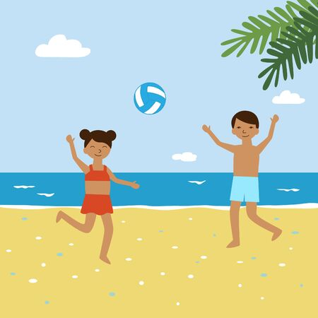 Kids playing beach volleyball on vacation. Two little friends - boy and girl jump and smile during play in sport game with a ball on the seashore. Vector cartoon illustration of summer activity