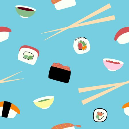 Seamless pattern with seafood sushi and rolls. Different types of japanese food with shopsticks soy sauce wasabi and ginger. Vector print in flat style on blue background