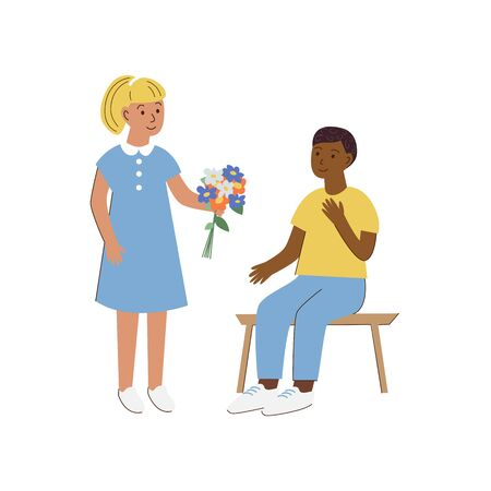 Declaration of love. Cute young couple first love. Pretty girl holding a bouqet of flowers and giving it to a boy who sitting on a bench in the park. Cartoon illustration