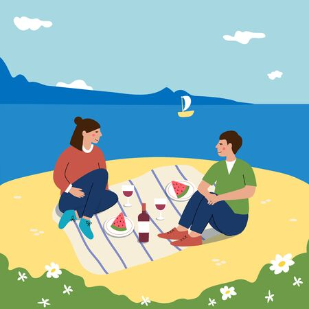 Young family have a picnic on the beach. Happy man and woman smiling and enjoying their date on the coast. Small yacht sailing in the  sea. Seascape with blue sky and white clouds cartoon vector illustration Vectores