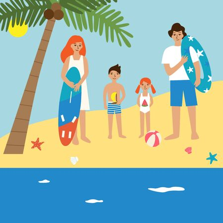 Young family with kids on the beach. Flat illustration of happy family with two children - boy and girl standing above palm and enjoying their vacation trip on the tropical seashore  イラスト・ベクター素材