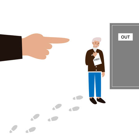 Sad Old Man Lost His Job. Male Employee Walking From Office Workplace To Exit Door. Boss's Hand Pointing to Fired Manager To Leave Through The Out Door. Footprints on the floor