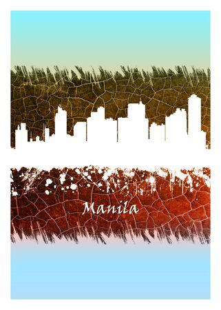 Manila city skyline Blue and White