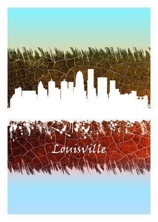 Louisville skyline Blue and White