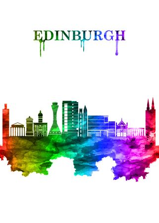 Edinburgh Scotland skyline Portrait Rainbow