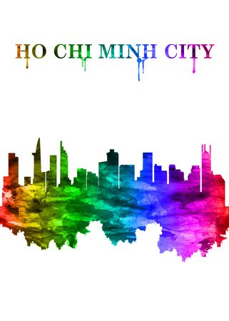 Ho Chi Minh City Vietnam skyline Portrait Rainbow