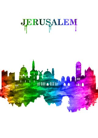 Jerusalem Israel skyline Portrait Rainbow