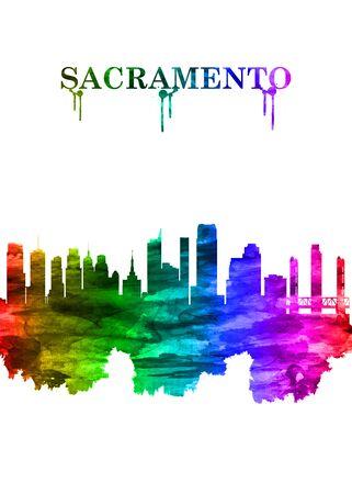 Sacramento California skyline Portrait Rainbow Stock Photo