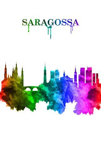 Saragossa Spain skyline Portrait Rainbow