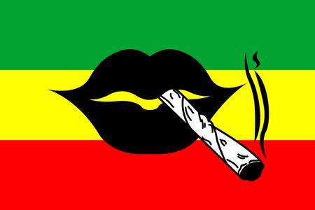 reggae vector - shoal of hemp illustration - lips Illustration