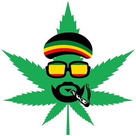 Cannabis or marijuana green vector leaf - Jamaican rasta hat.reggae style avatar - rastaman Illustration