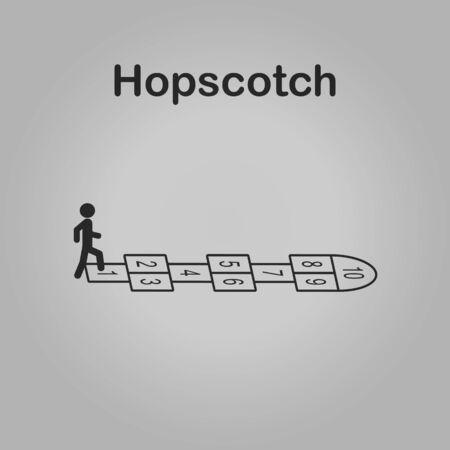 Hopscotch icon - drawing of a hopscotch Stock Illustratie