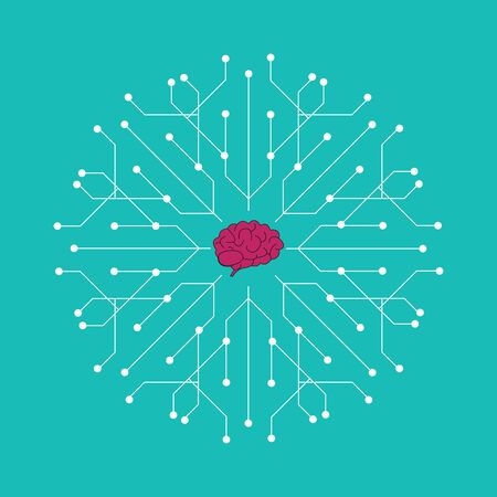Electronic brain icon - brain mapping concept with dots, circles and lines Illustration