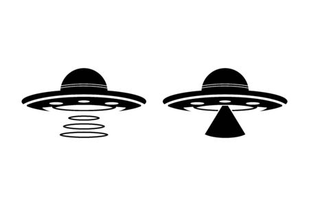 UFO Flying Saucer Icon - space ship UFO ray of light Vectores