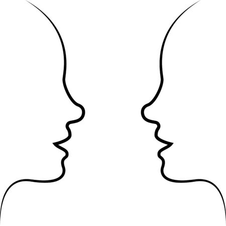 Silhouette face to face - drawing of set faces illustration