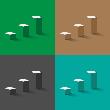 Set 3d stairs - business concept of goals illustration
