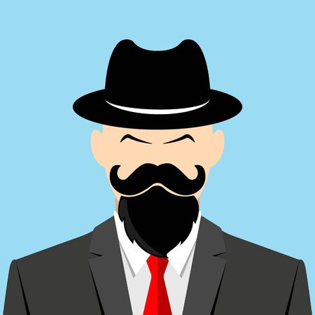 Serious man in a cowboy hat. Intelligent person on grey suit. Bearded man full face