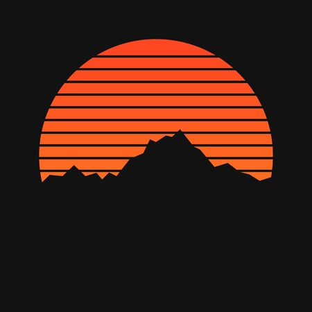 Mountains on sunset background