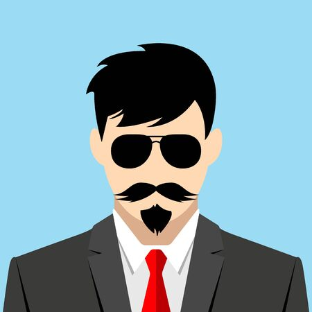 Serious man and grey suit. Italian Mafia with a red tie on a blue background. Detective man