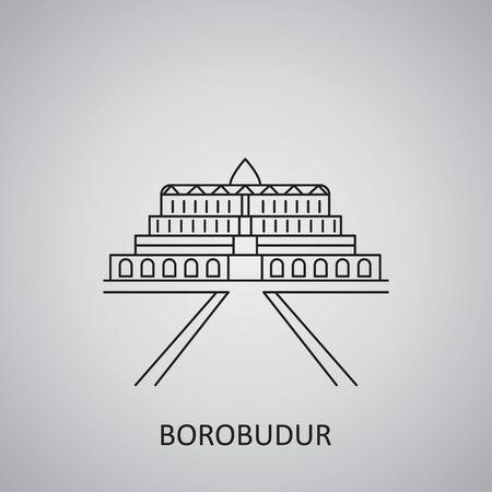Borobudur temple icon. Simple line icon illustration