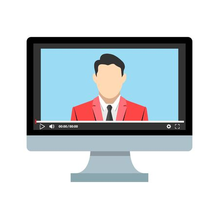 Online education when you stay at home. Internet access for distance learning. Video player on computer screen