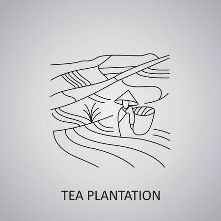 Tea plantation fields icon. Tea plantation landscape