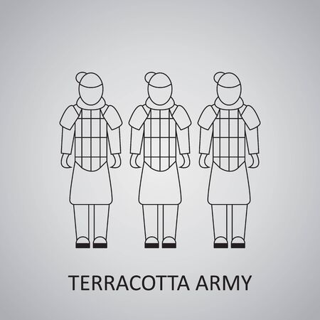 Terracotta army outline vector icon. Flat vector terracotta icon